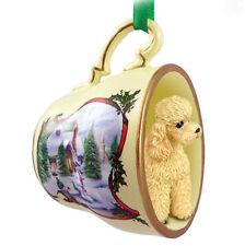 Poodle Christmas Teacup Ornament Apricot Sport
