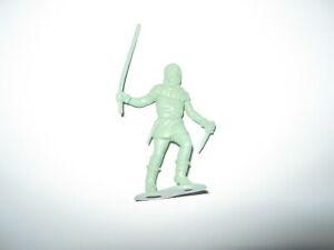Marx robin hood original castle figures 54 mm pale green with long stick.50'