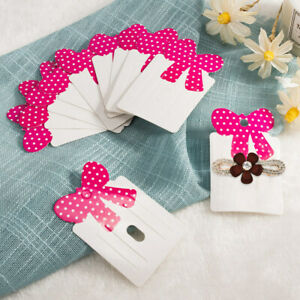 300 Pcs Paper Cardboard Hair Clip Display Cards with Bowknot for Jewelry Display
