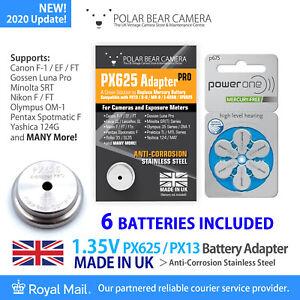 1.35V PX625 Adapter + 6 Battery Cell for Film Camera/Light Meter UK MADE MR9