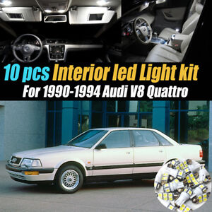 10Pc Super White Interior LED Light Bulb Kit Pack for 1990-1994 Audi V8 Quattro