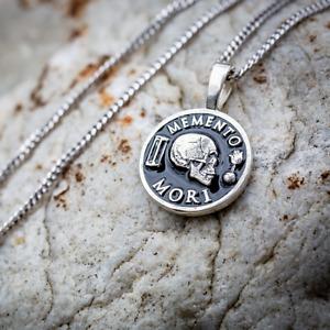 Stoic Memento Mori Sterling Silver Pendant Unisex Necklace