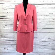 Tahari ASL Women 2PC Skirt Suit Blazer Buttons Pink Church Career size 8 EUC