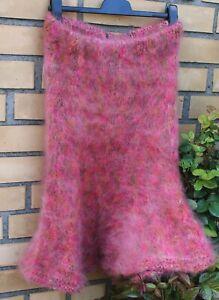 Kid Mohair  fuzzy sweater skirt Mohairrock godet Midirock rot mix