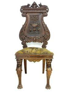 ANTIQUE 53´´VICTORIAN FIGURAL CARVED WOOD DRAGON GARGOYLE CARYATIDS THRONE CHAIR