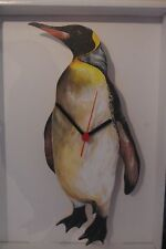 Penguin novelty wooden wall clock British made by Lark Rise