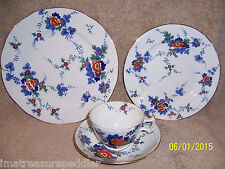 """Booths Silicon China """" Flora""""  5 Dinner plates 2 Salad plates cup saucer"""