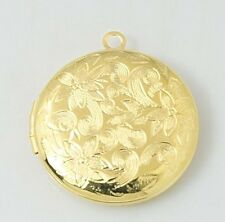 Lightly Etched Floral Design 27mm Round Gold Photo Picture Locket Pendant