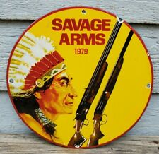 OLD VINTAGE 1979 SAVAGE ARMS PORCELAIN ADVERTISING SIGN RARE GREAT COLORS INDIAN