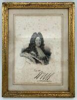 GRAVURE LOUIS XIV LITH DE DELPECH CADRE DORE 19EME ANCIENNE G2317