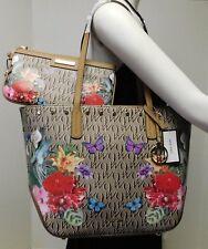 """Nine West Floral Butterfly Monogram Shoulder Bag Handbag w/ Wristlet/Wallet """"NWT"""