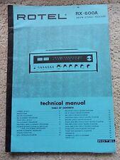 Rotel RX-600A manual técnico, AM/FM receptor estéreo