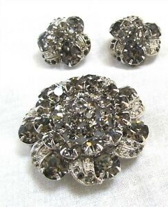 Signed Weiss Black Ice Brooch and Matching Earrings Set Needs Repair