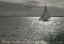 Cf-168 Ia, Clear Lake Before Sunset Sailboat Real Photo Postcard Rppc Ekt Paper