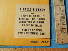 1938 Bally RESERVE Instruction Card