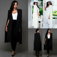 Fashion Women Long Cloak Outwear Cardigan Jacket Trench Coat Blazer Loose Cape