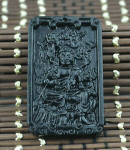 Necklace statue Sculpture black green Jewelry Amulet jade Natural stone Pendant