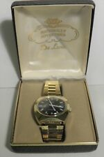 NOS 70'S MEN'S GOLD PLATED DATE WATCH RARE HONG KONG 24-00 MOVEMENT WITH BOX!