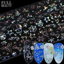 8*3D Autocollants à ongles Thème de Noël Nail Art étoil Laser Imprimé Stickers