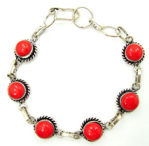 925 Silver Plated Red Coral Gemstone Link Bracelet Girl Fashion Jewelry - 3705