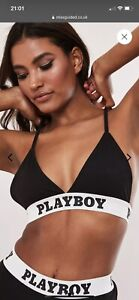 playboy x missguided black playboy taped triangle bra. Size Uk 6