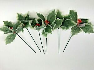 Pack of 6 Artificial Green Variegated Holly Picks  Red Berries 20cm Christmas