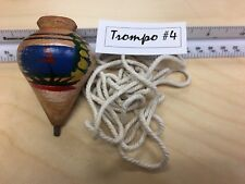 Wood Spinning Tops El Salvador hand made TROMPO de Madera with rope (Cañamo) #04