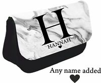 Personalised Name white grey marble effect Name Pencil Case make up bag