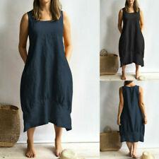 Plus Size Womens Ladies Summer Cotton Linen Casual Sundress Loose Kaftan Dress