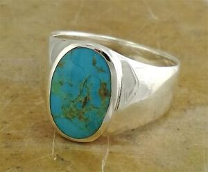 LARGE .925 STERLING SILVER MEN'S TURQUOISE RING size 9  style# r1980