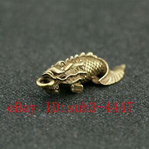 Chinese Handmade Copper  Brass Fish Small Fengshui Statue Pendant