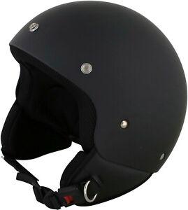 Duchinni D222 Retro Open Face Motorcycle Helmet Matt Black Crash Lid Motorbike