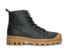 High-Top Lace-Up sneaker with lugged sole on Organic Pineapple leaf fiber fabric