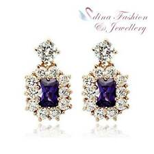18K Rose Gold GP Made With Swarovski Element Square Amethyst Stud Earrings