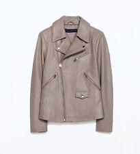 ZARA Women's Leather Jacket Size M Lambskin Zippers Rocker Style NWT