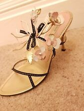 Prada Neiman Marcus 95th Anniversary Sandal Heel Shoes. 40 7 Hand crafted.*RARE*