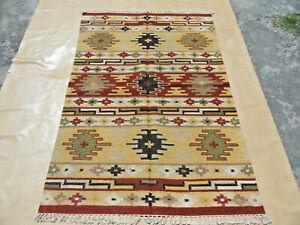 Turkish Oushak Kilim Rug Antique Vintage Handwoven Natural Wool Rug 4x6 ft