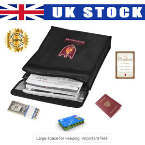 Fireproof Document Pouch Fire Water Resistant Bag Money Files Safety Holder Case