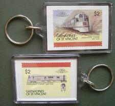 1934 CB&Q Burlington Railroad PIONEER ZEPHYR Train Stamp Keyring (Loco 100)