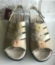 HOTTER JAMAICA LEATHER neutral beige SANDALS SIZE 4 EU 37 EXF  Extra Wide
