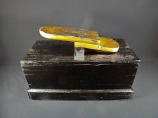Antique Shoe Shine Box Primitive Handmade Swifts Crate w/ Wood Carved Foot Rest