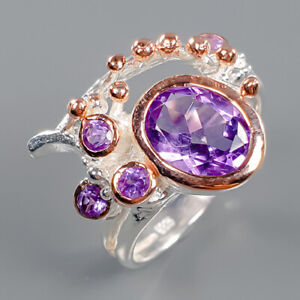 Amethyst Ring Silver 925 Sterling Fine Jewelry Design Size 8 /R140768