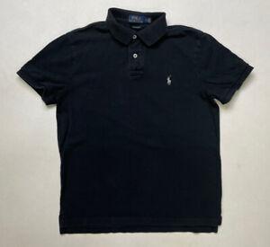 Polo Ralph Lauren Men Polo Shirt Slim Fit Adult Medium Black Pony Gray