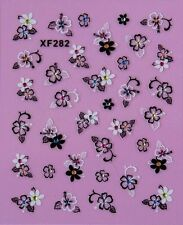3D Nail Sticker Black/White Five Petals Corolla Plum Blossom Color Crystal XF282