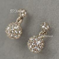 18k rose gold gf made with Swarovski crystal ball drop dangle stud earrings