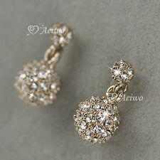 NEW DROP EARRINGS 9K GF 9CT ROSE GOLD CLEAR MADE WITH SWAROVSKI CRYSTAL BALL