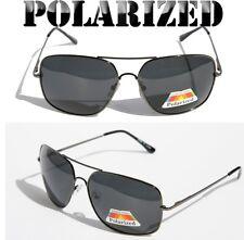 New Large Black Square Metal Polarized Sunglasses Aviator Driving Fishing