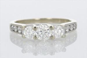 Past Present Future® .98ctw Diamond Engagement Ring 14K White Gold Size 5.75