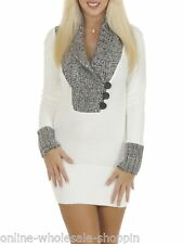 New Womens Knitwear V Neck Knitted Jumper Winter Ladies Dress Top Size 8 10 14 M