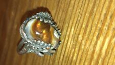 Arizona Fire Agate  Gemstone Sterling Silver Ring Size 6.5 made in USA